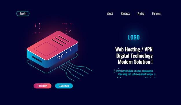 Cloud computing e grande icona isometrica di elaborazione dei dati digitali, router internet splitter, web online