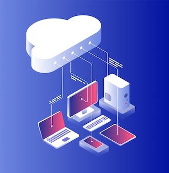 Cloud computing. tecnologia informatica con configurazione per laptop e smartphone.
