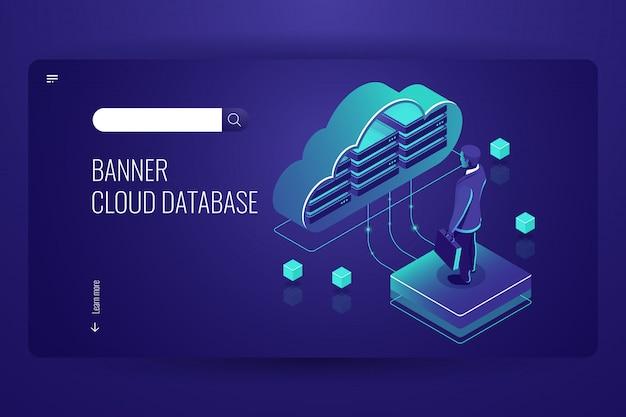 Cloud database, icona isometrica, cloud computing dati, uomo rimanere sulla piattaforma