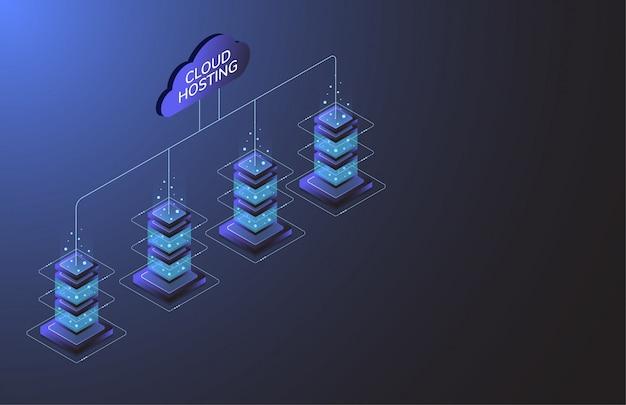 Cloud hosting. industria delle apparecchiature internet. tecnologia di trasmissione dati