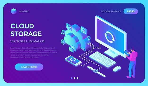Cloud storage. sincronizzazione dei dispositivi. 3d isometrico con icone computer, smartphone e smart watch.