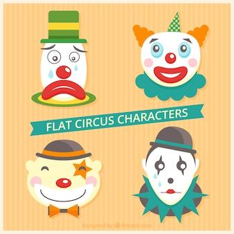 Clown del circo pacchetto in design piatto