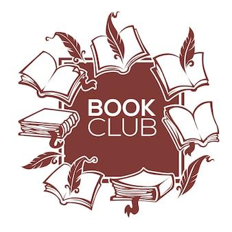 Club del libro, biblioteca e negozio, disegno del modello vettoriale per la tua etichetta, adesivo, carta, volantino