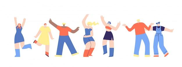 Clubbing dancing people disco flat disco fest