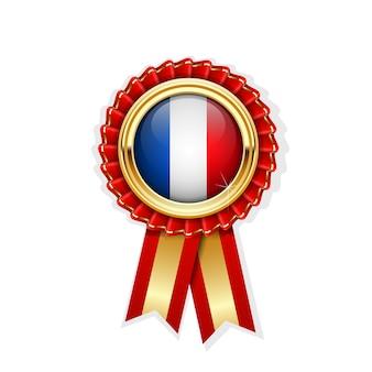 Coccarda rossa con bandiera della francia in distintivo d'oro, premio francese o simbolo di qualità