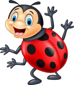 Coccinella cartoon agitando