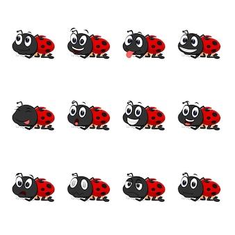 Coccinella con diverse espressioni facciali