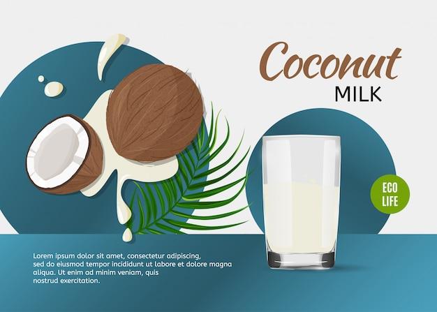 Cocco intero e mezzo e un bicchiere di latte di cocco con foglia verde.