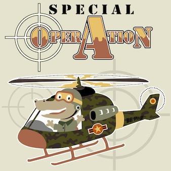Coccodrillo divertente sul giocattolo militare dell'elicottero