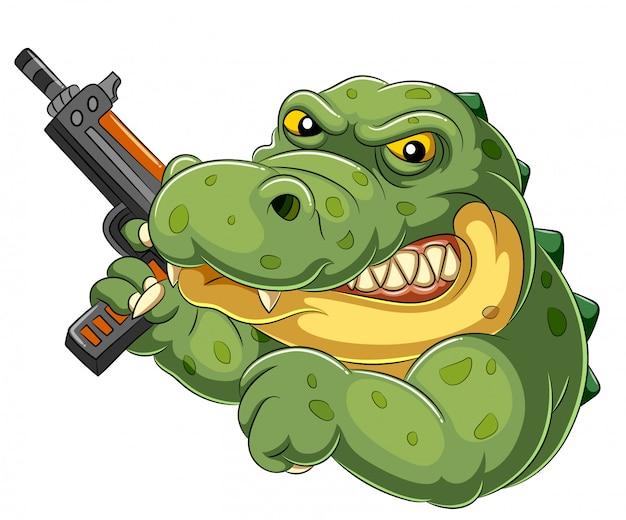 Coccodrillo forte e arrabbiato del fumetto che tiene una pistola