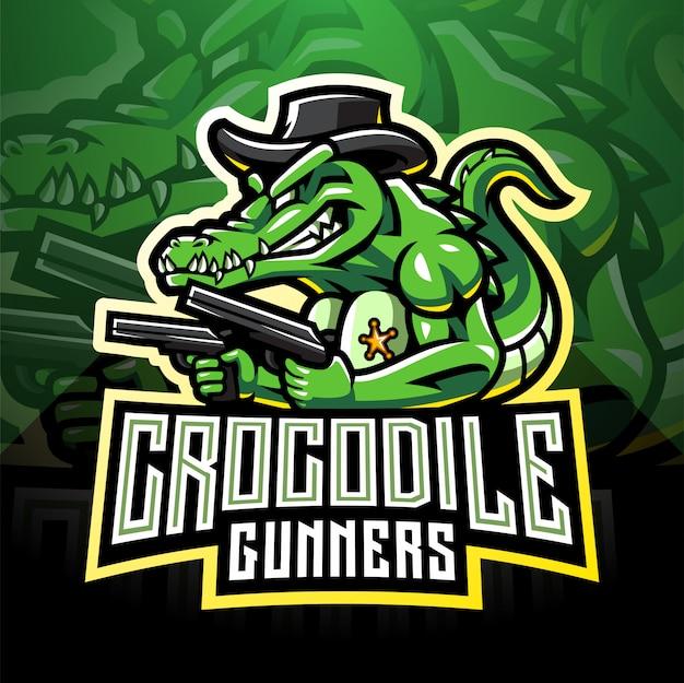 Coccodrillo pistole esport logo mascotte