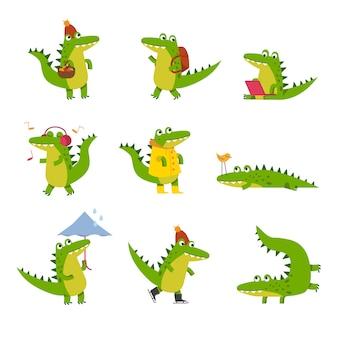 Coccodrillo sveglio del fumetto nelle attività di ogni giorno, illustrazioni di personaggi colorati