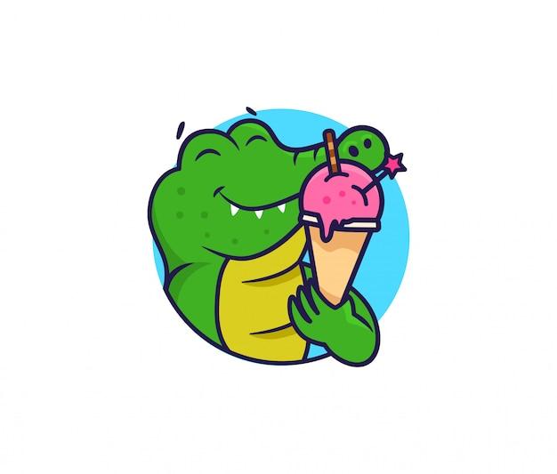 Coccodrillo testa logo con gelato. logotipo alimentare