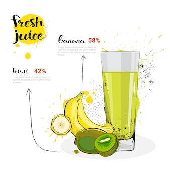 Cocktail della miscela del kiwi della banana dei frutti e del vetro disegnati a mano dell'acquerello del succo fresco su fondo bianco