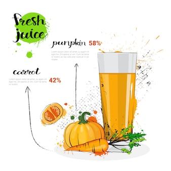 Cocktail della miscela della carota della zucca delle verdure e del vetro disegnati a mano dell'acquerello del succo fresco su fondo bianco