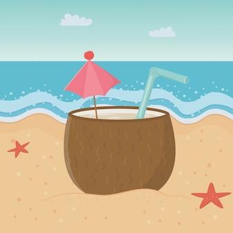 Cocktail di cocco sulla spiaggia