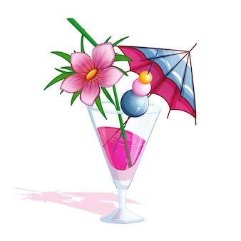 Cocktail di rosa tropicale spiaggia estate.