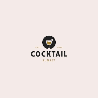 Cocktail logo template sunset
