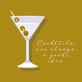 Cocktail martini in un'illustrazione di vetro