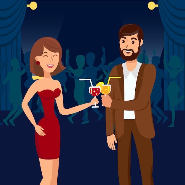 Cocktail party all'illustrazione di vettore del night-club
