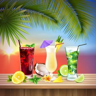 Cocktail set composizione realistica