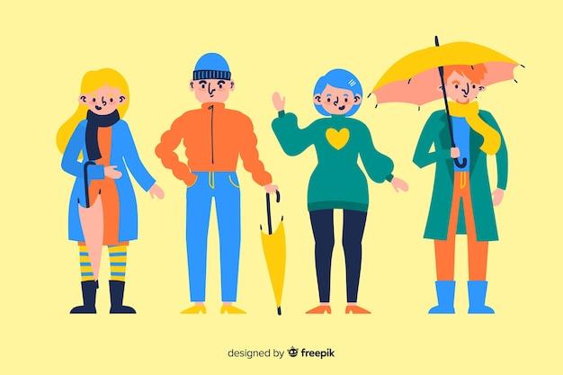 Cocncept dell'illustrazione con i vestiti di autunno