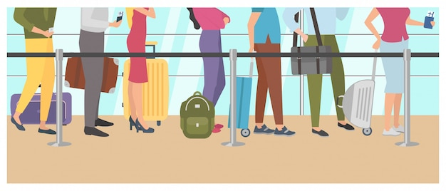 Coda all'aeroporto. passeggeri del check-in in aeroporto in fila per il volo.