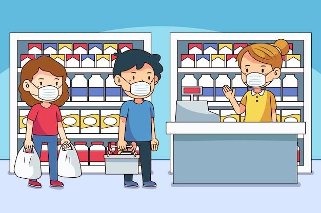 Coda del supermercato con distanza di sicurezza
