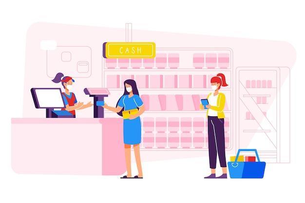 Coda del supermercato con il concetto di distanza di sicurezza