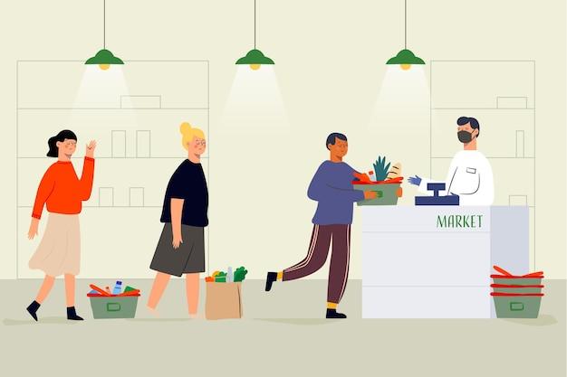 Coda del supermercato con la distanza di sicurezza illustrata