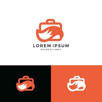 Coda di cartella di icona di vettore di lavoro volpe logo vettoriale