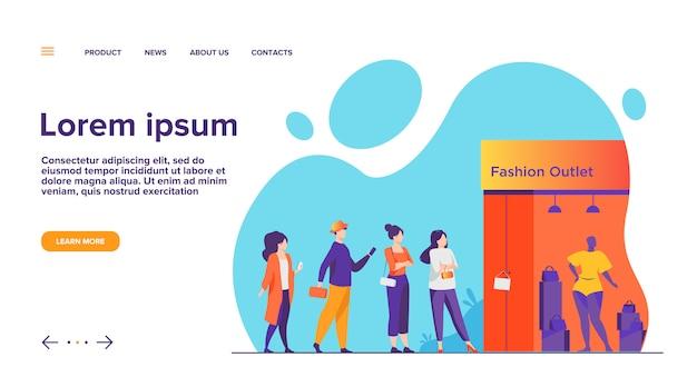 Coda di clienti in vendita nella pagina di destinazione della finestra della boutique
