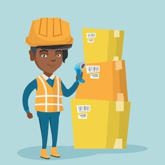 Codice a barre africano di scansione del lavoratore del magazzino sulla scatola.