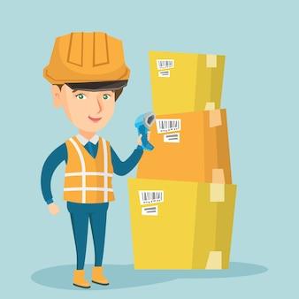 Codice a barre caucasico di scansione del lavoratore del magazzino sulla scatola