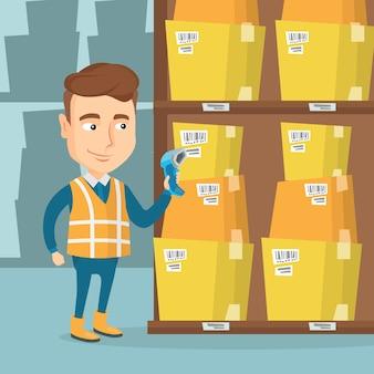 Codice a barre di scansione del lavoratore del magazzino sulla scatola.