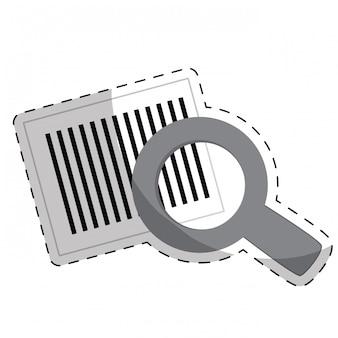Codice a barre e lente d'ingrandimento