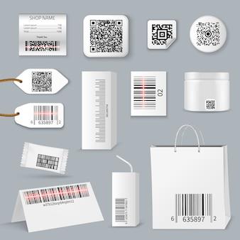 Codice a barre qr tramite set di icone di scansione