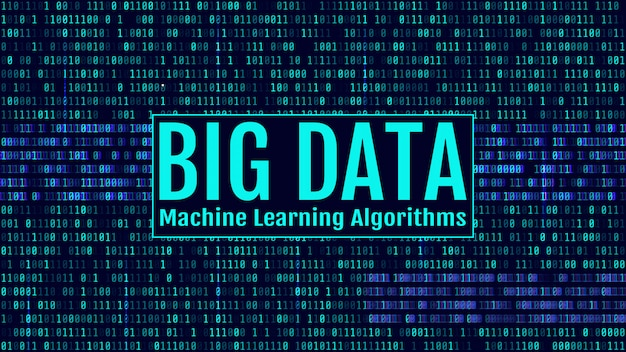 Codice binario, cifre blu sullo schermo del computer. big data machin