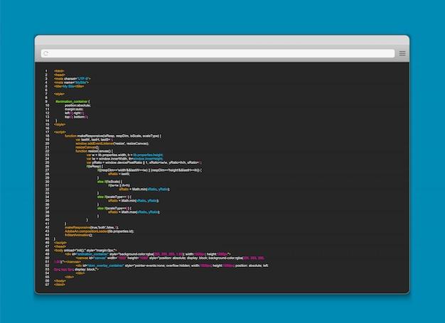 Codice di programmazione sullo schermo del computer