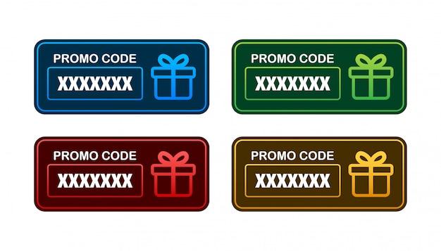 Codice promozionale. buono regalo con codice coupon. sfondo di carta regalo elettronica premium per e-commerce, acquisti online. marketing. illustrazione.