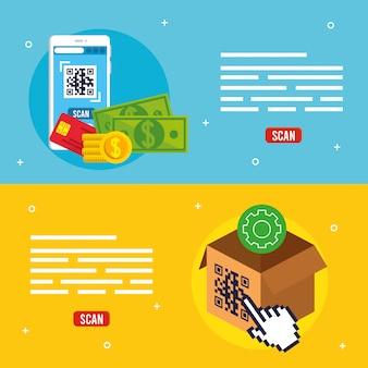 Codice qr all'interno di smartphone e scatola disegno vettoriale