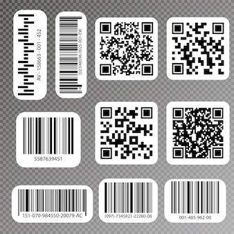 Codici qr ed etichette con codici a barre. etichette di codici a barre industriali.