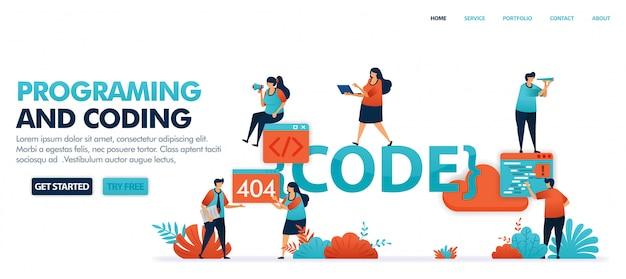 Codifica e programmazione per trovare bug nel codice impostato nella risoluzione di problemi di errore, 404, non trovato.