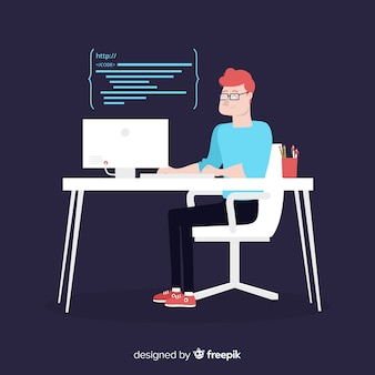 Codifica programmatore maschio di design piatto vettoriale