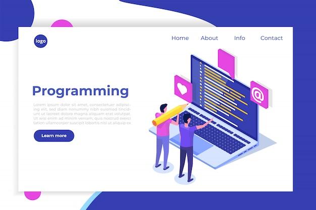 Codifica, sviluppo software, programmazione concetto isometrico