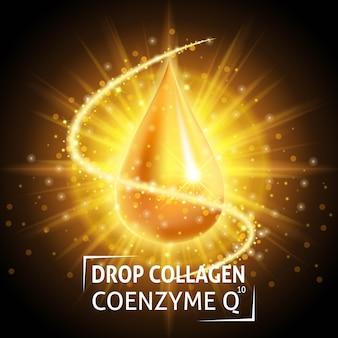 Coenzima q10 del collagene sierico, realistica goccia d'oro.