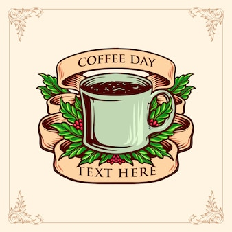 Coffee day glass con illustrazioni d'epoca