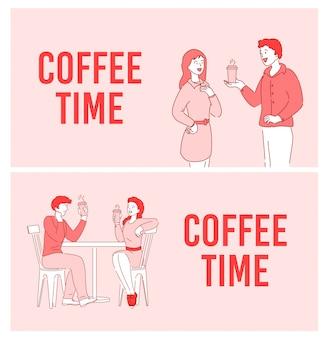 Coffee time, short break, set di poster di comunicazione