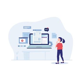 Coinvolgere l'illustrazione piatta di content marketing