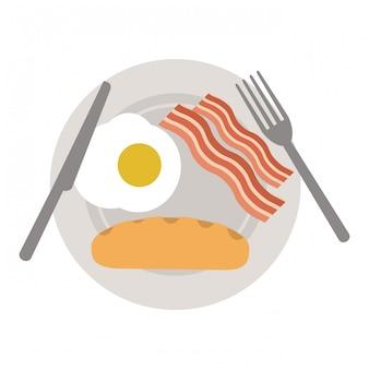 Colazione americana sul piatto